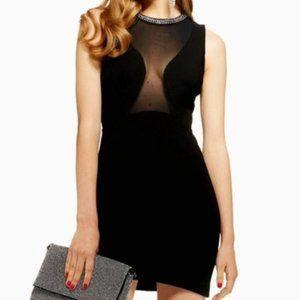 Topshop studded neck trim bodycon dress black mesh